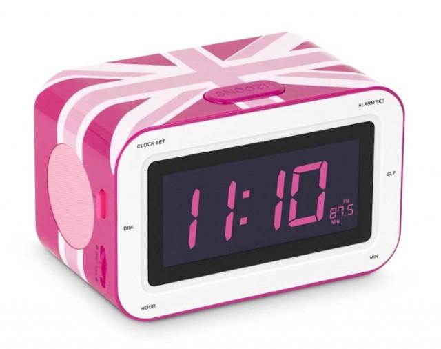 """Radio Alarm Clock """"Union Jack"""" (Pink) - Packshot"""