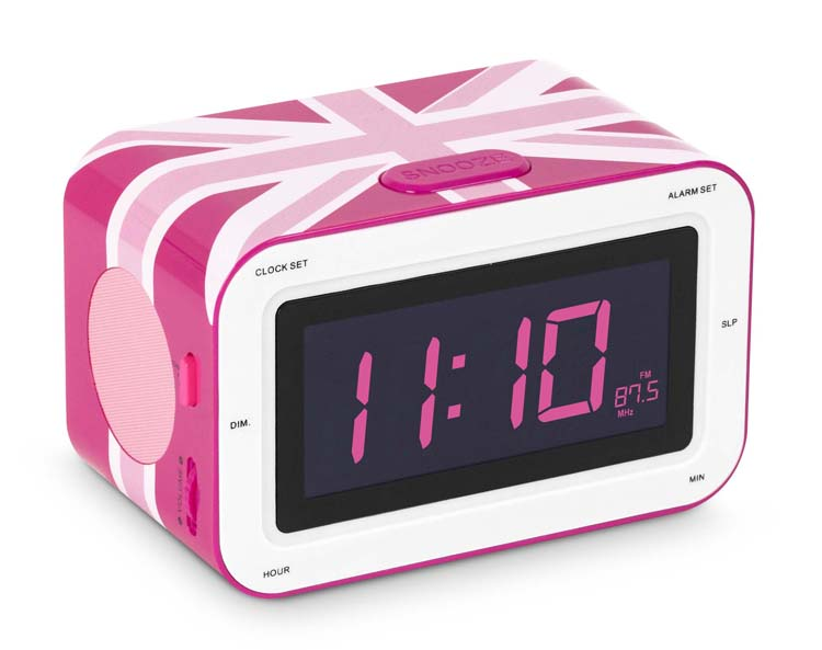 Alarm Clock Radio Union Jack Pink Rr30gbgirly Bigben