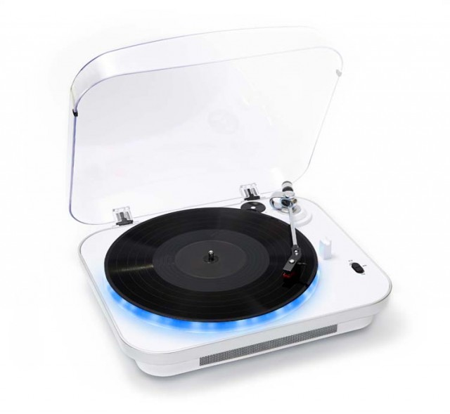 Record player-encoder with lighting (White) - Packshot