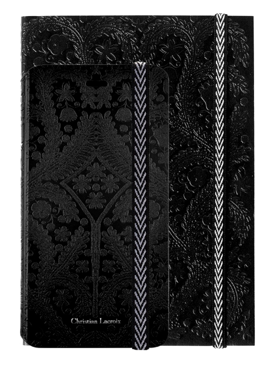 "CHRISTIAN LACROIX folio case ""Paseo"" (Black) + notebook ""Paseo"" (Black) - Packshot"
