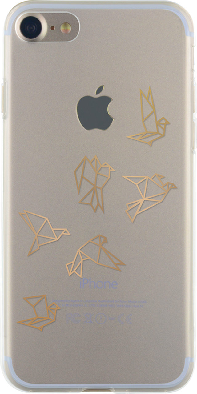 Semi-rigid case (Clear with gold origami birds) - Packshot