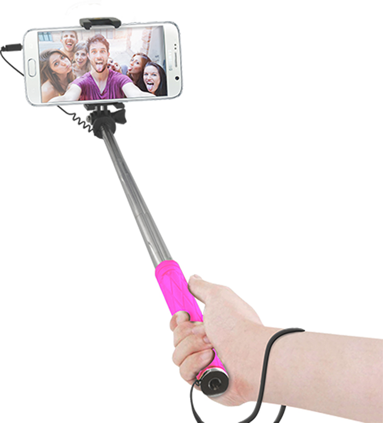 mini selfie stick pink bigben en audio gaming smartphone tablet accessories videogames. Black Bedroom Furniture Sets. Home Design Ideas